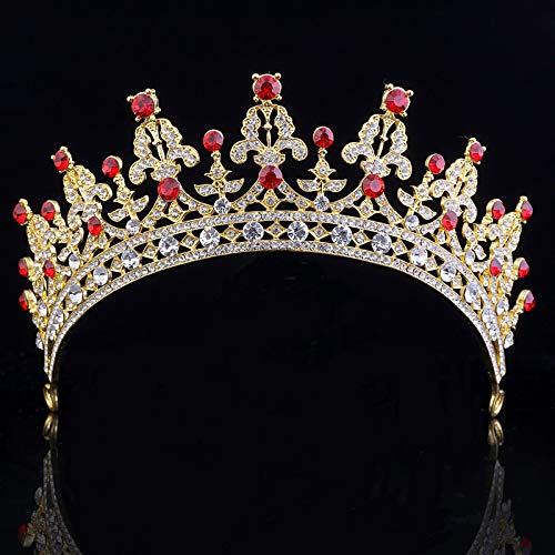SNOWH Wedding Crowns for Women Rhinestone Bridal Tiara Headbands Prom Queen Crown for Pageant, Birthday, Costume Party (Gold+Ruby)]()
