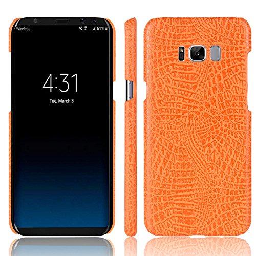 Funda Samsung Galaxy S8 Plus, SunFay Funda Posterior Protector de PC Carcasa Back Cover de Parachoques Piel PU Protectora de Teléfono Para Samsung Galaxy S8 Plus - Rosa Naranje