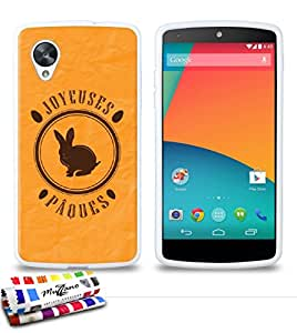 Carcasa Flexible Ultra-Slim GOOGLE NEXUS 5 de exclusivo motivo [Pascua Conejito de Orange] [Blanca] de MUZZANO  + ESTILETE y PAÑO MUZZANO REGALADOS - La Protección Antigolpes ULTIMA, ELEGANTE Y DURADERA para su GOOGLE NEXUS 5