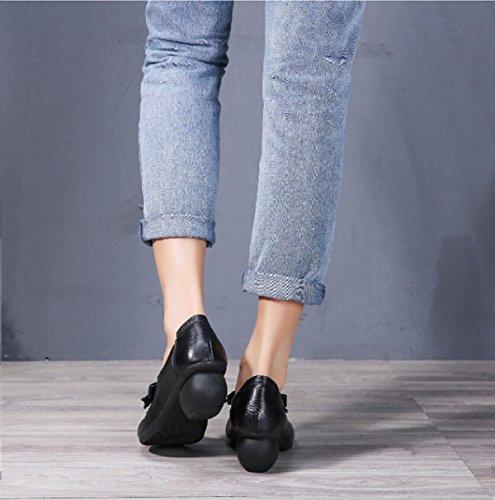 Mano Calzado Cómodo Retro ásperos Con Negro Black