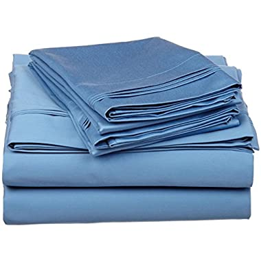 100% Premium Long-Staple Combed Cotton 650 Thread Count, King 4-Piece Sheet Set, Deep Pocket, Single Ply, Solid, Medium Blue