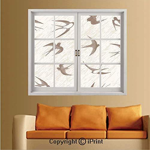 RWNFA Removable and Stick Wallpaper,Home Decor,Wallpaper/Removable Modern Decorating Wall Art,W36 xL48,Flying Bird Swallow Vintage Design Illustration Springtime Wildlife Classic Art