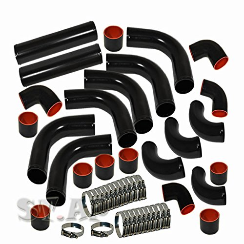 T-Bolt Clamp Black Piping Black Coupler 3 Ply Coupler Hose 2.5 inch 12pc Universal Custom Piping Kit