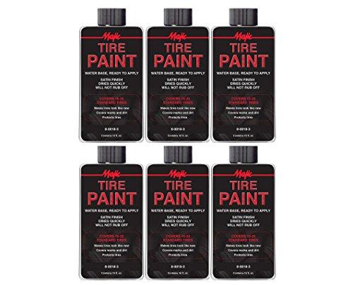 Majic Paints 8-0018-3 Satin Finish Tire Paint, 16-Ounces, 6-Pack, Black