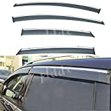 12 ford focus - PLDDE 4pcs Smoke Tint With Chrome Trim Outside Mount Tape On/Clip On Style PVC Sun Rain Guard Vent Shade Window Visors Fit 12-18 Ford Focus