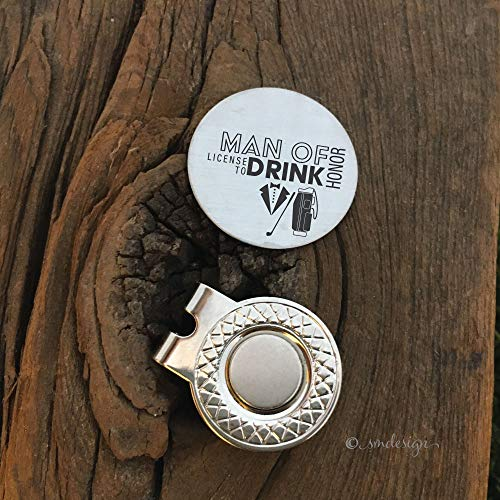 Man of Honor License to Drink Golf Ball Marker - Golf Disc Gift For Man of Honor Wedding Party Gift Idea Golf Ball Marker Engagement Party Gift Idea Bachelor Party Present