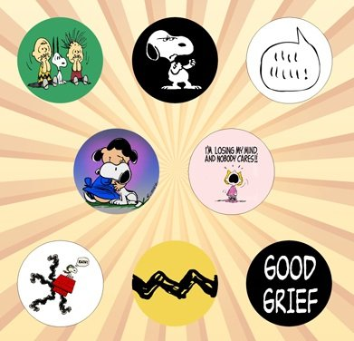 Peanuts C Set of 8 - 1 Inch Pinback -