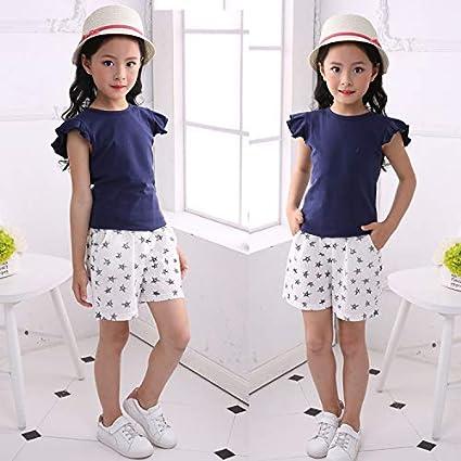 Childrens Summer Collection Girls Cotton Short Sleeve Set Shorts Childrens Set