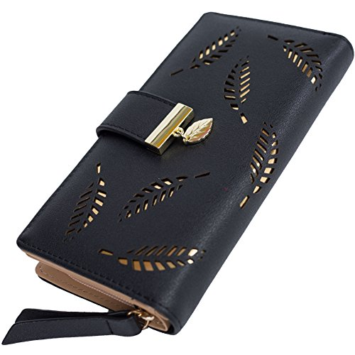 Womens Long Clutch Wallet Leather Zipper Card Holder Purse Ladies Bifold Wallet (Black)