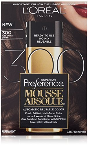 Hair Color Mousse - L'Oreal Paris Superior Preference Mousse Absolue Hair Color - 300 Pure Darkest Brown (Pack of 2)