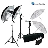 LimoStudio 600W Photography Triple Photo Umbrella Lighting Kit, Video, Umbrella Continuous Lighting Kit, CFL Photo Bulbs, Black/Silver & White Umbrella Reflector, Light Stand, Carrying Case, AGG2263