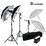 LimoStudio 600W Photography Triple Photo Umbrella Lighting Kit, Video, Umbrella Continuous Lighting Kit, CFL Photo Bulbs, Black/Silver & White Umbrella Reflector, Light Stand, Carrying Case, AGG2263