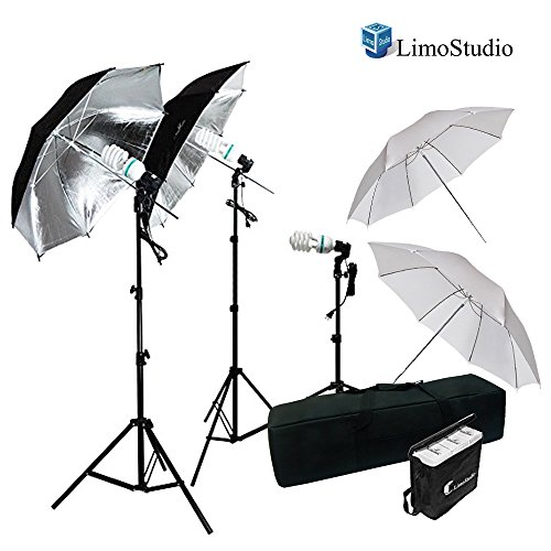 LimoStudio 600W Photography Triple Photo Umbrella Lighting Kit, Video, Umbrella Continuous Lighting Kit, CFL Photo Bulbs, Black/Silver & White Umbrella Reflector, Light Stand, Carrying Case, AGG2263 by LimoStudio