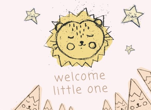 Welcome Little One: baby shower guest signature book. Cute hand drawn baby lion cub illustration style. stars and mountains baby shower guest book. Gender neutral baby shower guest book