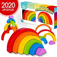 GoodyKing Wooden Rainbow Stacking Toy - Montessori Wood Stacker Blocks for Toddlers - Fun and Educational Colo