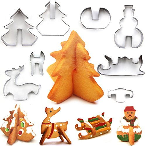 3D Winter Christmas Cookie Cutter, 8 Stainless Steel Holidays Cookies Molds for Making Muffins, Biscuits, Sandwiches ()