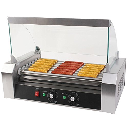 Safeplus Electric Hot-dog Grill Commercial Hotdog Maker Warmer Cooker Grilling Machine with Cover 7-rollers
