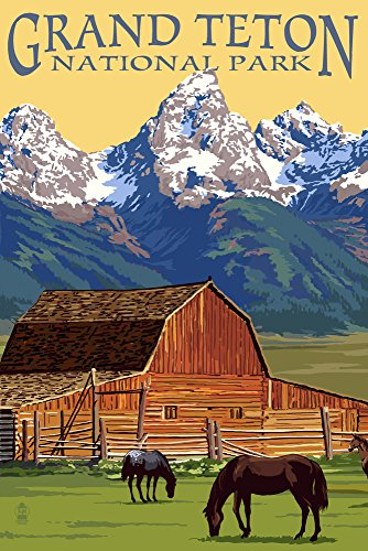 Grand Teton National Park, Wyoming - Barn and Mountains (9x12 Art Print, Wall Decor Travel Poster) ()