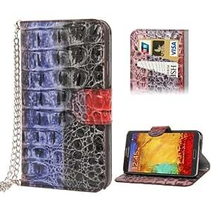 Colorful Snakeskin Texture Leather Case Cover Credit Funda con bolsillos internos & Holder & Lanyard para Samsung Galaxy Note III %2F N9000