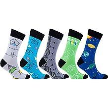 Socks n Socks-Men's 5-pair Luxury Fun Cool Cotton Colorful Dress Socks Gift Box