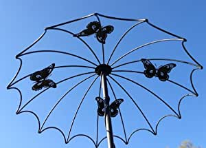 Soporte de reja, sombrilla soporte para rosas, rosa trepadora, negro 175