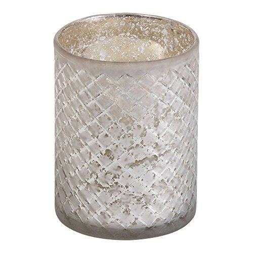 - Ethan Allen Diamond-Etched Glass Hurricane