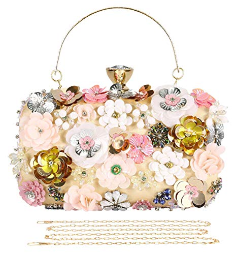 Selighting Colored Floral Clutches Evening Bags for Women Formal Bridal Wedding Clutch Purse Prom Cocktail Party Handbags (One Size, ()