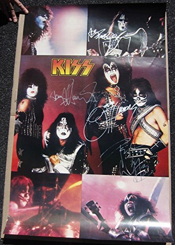 Kiss Group Poster (Kiss 4x signed 22x35 Poster Original Group Simmons Stanley Frehley Criss - PSA/DNA Certified)