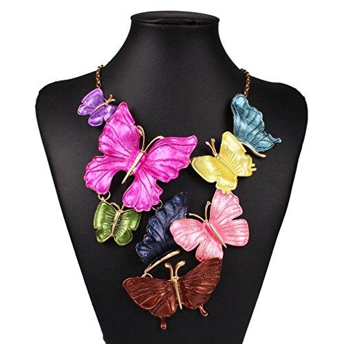 YAZILIND Multicolore Pendentif Breloques Bib D'claration Choker Chunky ChaŒne Collier Papillon F'minin