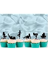 Various Designs of Pole Dancers/High Heels/Corset/Glasses/Bride & Groom Cupcake Toppers for Birthday/Bridal Shower/Wedding/New Years Events/Party/Bachelor Party sets of 12… (Glitter Black Sexy Lady)