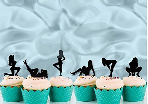 Various Designs of Pole Dancers/High Heels/Corset/Glasses/Bride & Groom Cupcake Toppers for Birthday/Bridal Shower/Wedding/New Years Events/Party/Bachelor Party sets of 12… (Glitter Black Sexy Lady) (Cake Owl Wedding Topper)