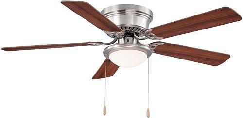 Hugger 25518 LED Brushed Nickel Ceiling Fan 52″ w/ Chestnut/Maple Blades