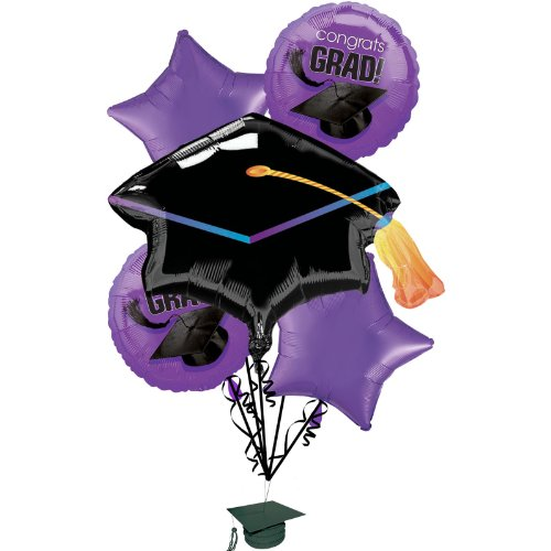(Congrats Grad Purple Graduation Foil Balloon Bouquet )