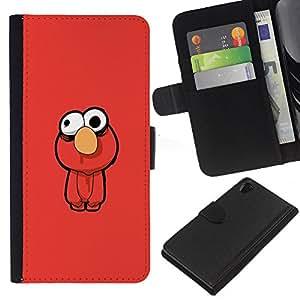 Sony Xperia Z2 D6502 D6503 D6543 L50t L50u , la tarjeta de Crédito Slots PU Funda de cuero Monedero caso cubierta de piel (Funny - Muppt)