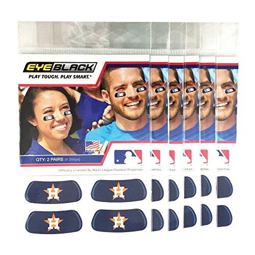 Houston Astros Mlb Baseball Sticker - EyeBlack (24 Strips) - Houston Astros Blue MLB Eye Black Anti Glare Strips, Great for Fans & Athletes on Game Day
