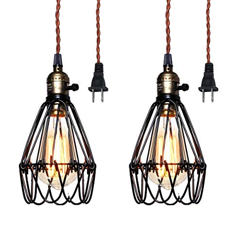 Pauwer Industrial Metal Cage Pedant Light Plug in Pendant Lamp Vintage Edison Hanging Light Fixture with On/Off Switch (2 Lights)