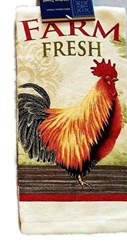 Home Collection Farm Rooster Design Kitchen Towel Linen Bundle Package (set of 3 towels)