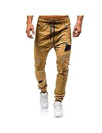 Theshy Men's Drawstring Classic Joggers Pants Zipper Pockets Sport Sweat Pants