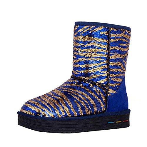 HooH Damen Pailletten Zebra Stripe Schneestiefel 5638 Blau