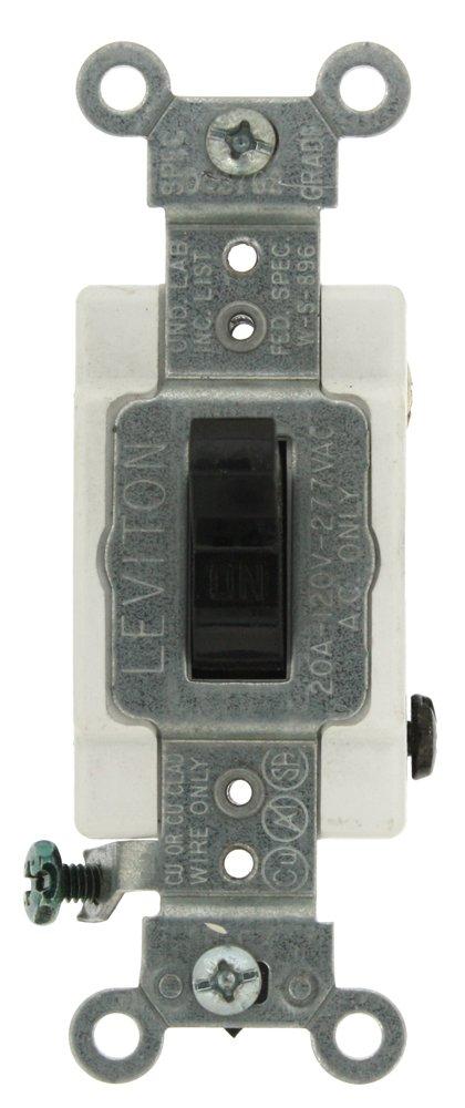 Leviton CS220-2E 20-Amp, 120/277-Volt, Toggle Double-Pole AC Quiet Switch, Commercial Grade, Black