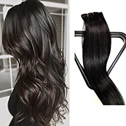 Myfashionhair Clip in Hair Extensions Real Human Hair Extensions 22 inches 70g Natural Black Clip on for Fine Hair Full Head 7 pieces Silky Straight Weft Remy Hair (22 inches, #1B)