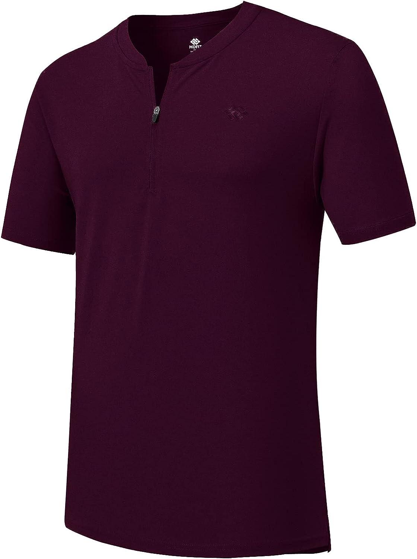 JINSHI Men Zipper Golf Shirt Short Sleeve Polo Shirt Collarless Workout T-Shirt Breathable Basic Tee