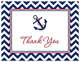 Baby : 50 Nautical Thank You Cards (Red & Navy)