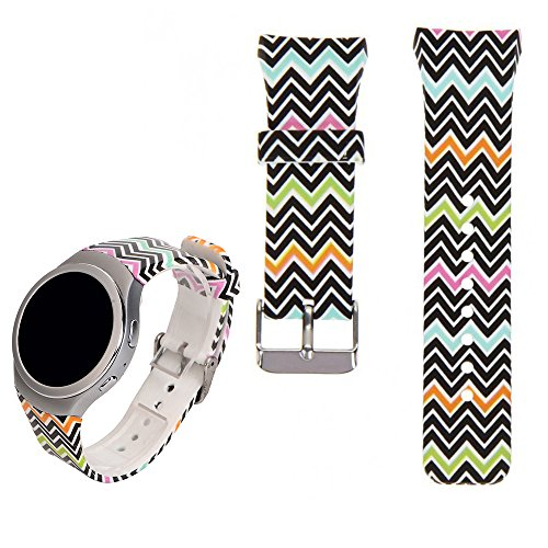 For Samsung Gear S2 SM-R720/R730 Replacement Watch Band - Feskio Accessory Soft Silicone Colourful Sport Wristband Strap Band Bracelet Common Design for Samsung Galaxy Gear S2 SM-720/SM-730 Smartwatch