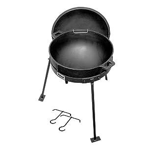 Bayou Classic 5 Gallon Cast Iron Jambalaya Pot, with Lid & Stand, Black