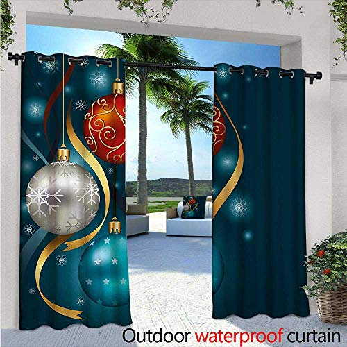 Christmas Indoor/Outdoor Single Panel Print Window Curtain W96 x L84 Vivid Classical Baubles with Ribbons and Different Patterns Abstract Silver Grommet Top Drape Petrol Blue Grey Red -