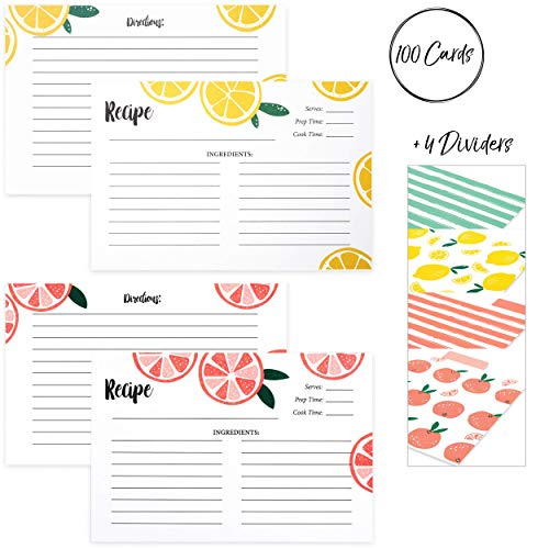 Outshine 104 Pack Bulk Recipe Cards for Recipe Box | Lemon Orange Slice 100 4x6 Blank Recipe Cards and 4 Dividers | Double Sided Thick Card Stock Wont Smear (Fruit) ()