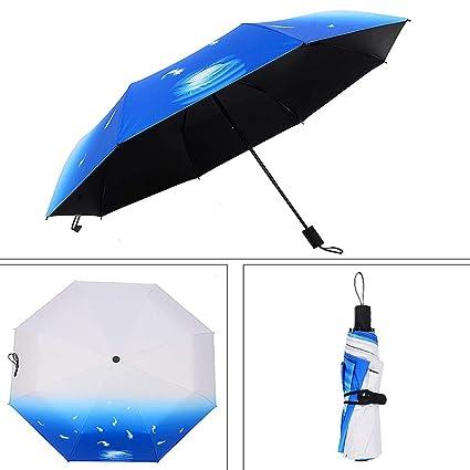 LUOJIN Paraguas plegable Paraguas De La Pintura del Arte Blanco Y Negro Paraguas Soleado Impermeable A
