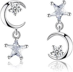 Luo Element - Regalo de Navidad Plata de Ley 925 Estrella Luna ...