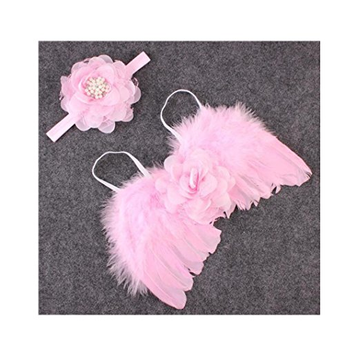 Soft Feather Child Angel Wings (DZT1968 Baby Girl Flower Headband Angel Feather Wing Costume Photo Prop Outfit)